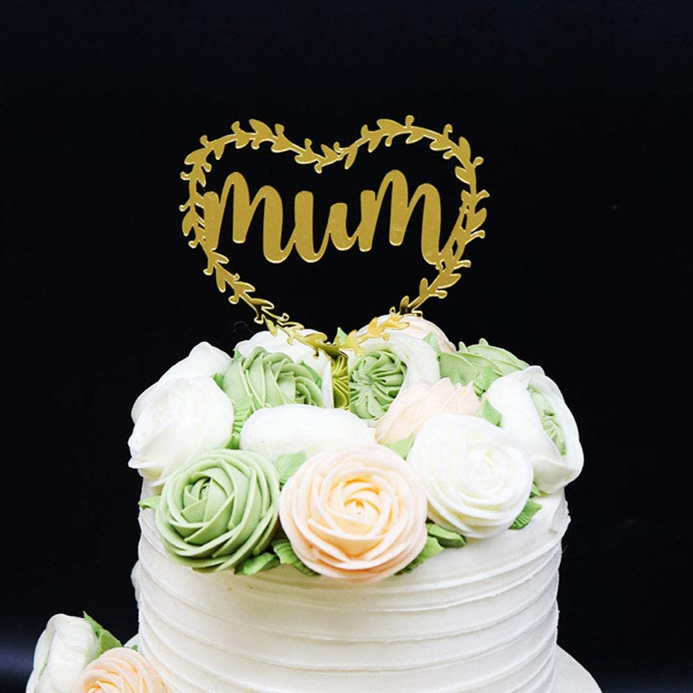 Tremendous Amazon Com Mirror Gold Mum Happy Mothers Birthday Cake Topper Personalised Birthday Cards Cominlily Jamesorg