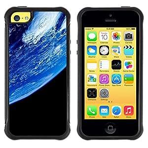 All-Round híbrido Heavy Duty de goma duro caso cubierta protectora Accesorio Generación-II BY RAYDREAMMM - Apple iPhone 5C - Blue Planet Earth Closeup View Space Atmosphere
