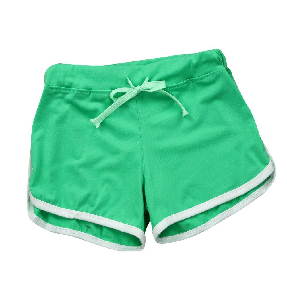 TRENDINAO Summer Short Pants Women, Sport Shorts Gym Workout Waistband Skinny Yoga Elastic Shorts Green