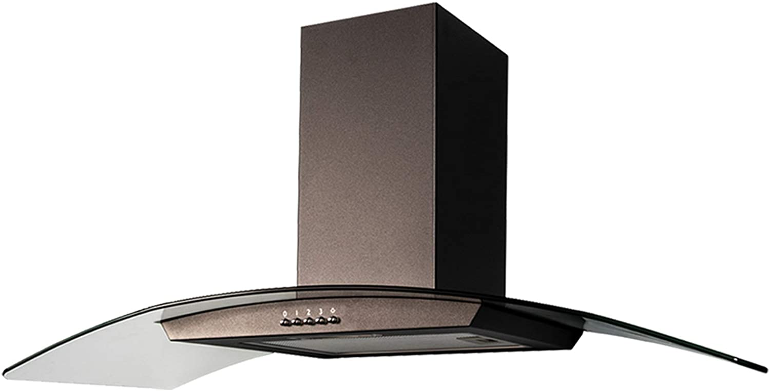 SIA CGH90BL Black 90cm Curved Glass Chimney Cooker Hood Extractor Fan