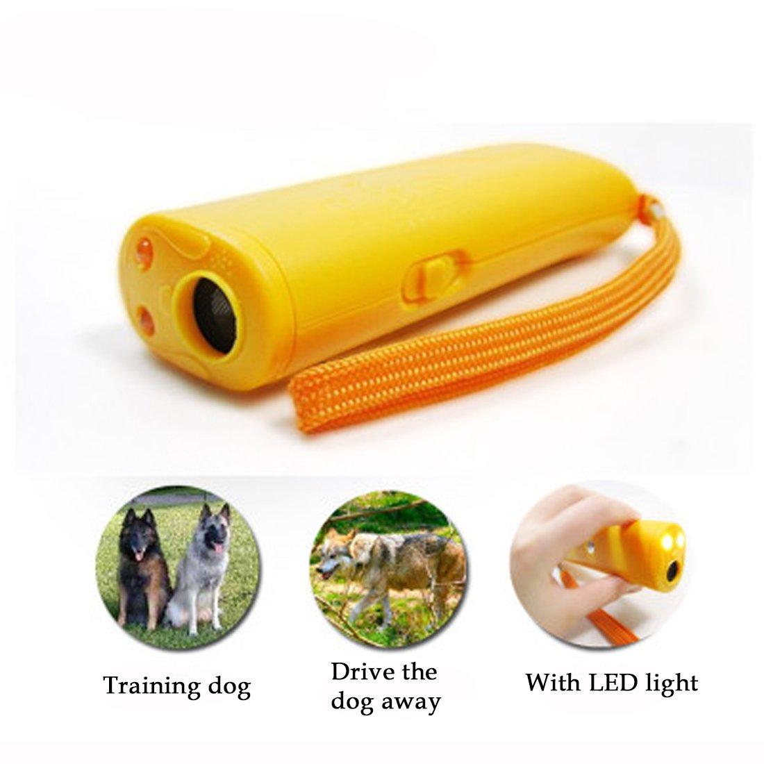 A-szcxtop Trainer avec LED Lampe de poche/puissant à ultrasons Chien dissuasif et écorce Bouchon + Dog Trainer appareil/Protégez-vous de chiens Agressifs + train votre chien pour arrêter d'Aboyer et de tous les autres Comportements indésirables