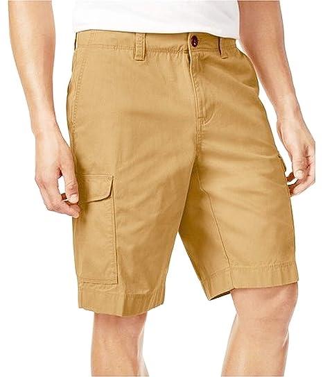8b5e48f3b Tommy Hilfiger Men's 10 Inch Flat Front Cargo Shorts Bermuda - Beige W30:  Amazon.co.uk: Clothing