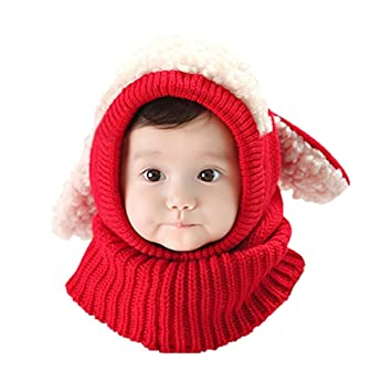 91c882762234 Baby Girls Boys Toddler Winter Hat Scarf Set Cutest Earflap Hood Warm Knit Hat  Scarves with