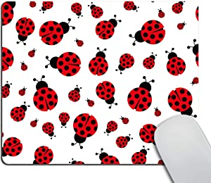 Non-Slip Rectangle Mousepad, Smooffly Red Ladybug Mouse Pad for Home, Office and Gaming Desk