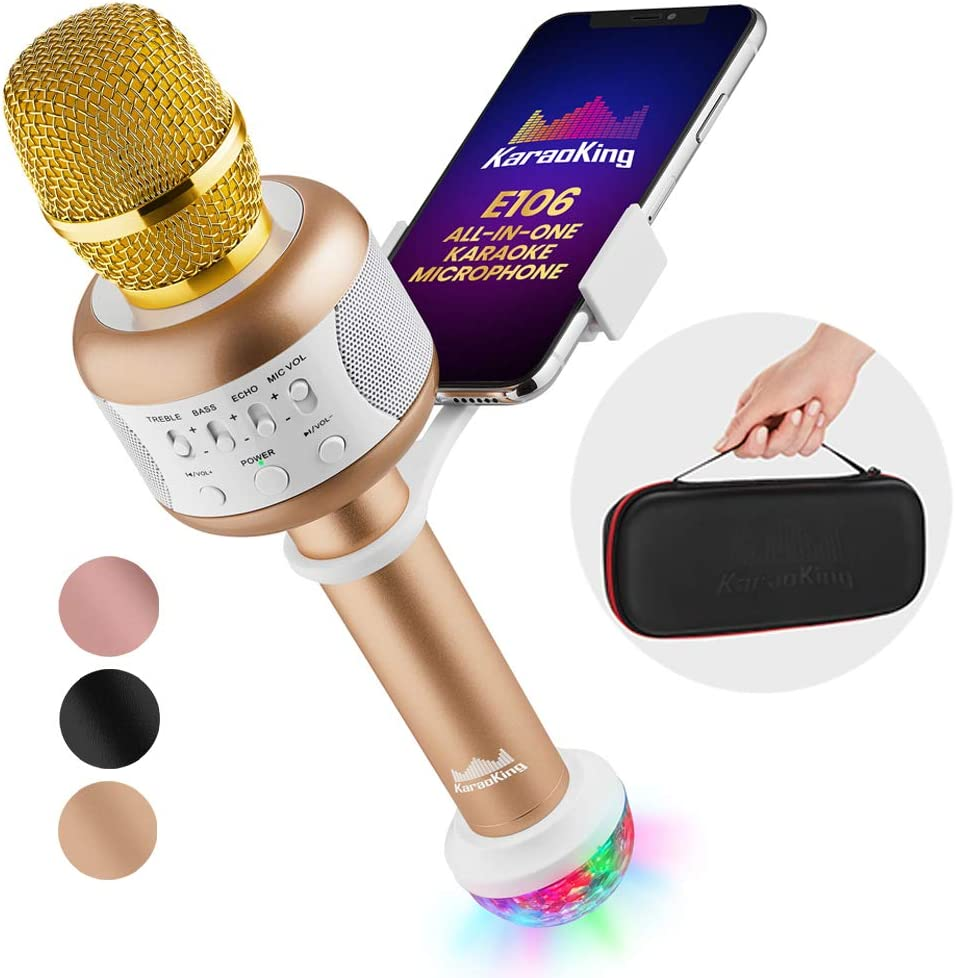 KaraoKing Karaoke Microphone - Wireless, Bluetooth Karaoke Machine for Kids & Adults - Includes Mic with Speaker, Disco Light & Phone Holder - Perfect for Rock n' Roll Parties (E106 2.0 Gold)