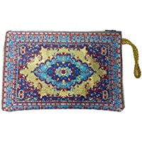 Blue Gold Design Icon Holder Cloth Rosary Case Tapestry Zipper Close Pouch From Holy Land 8.3