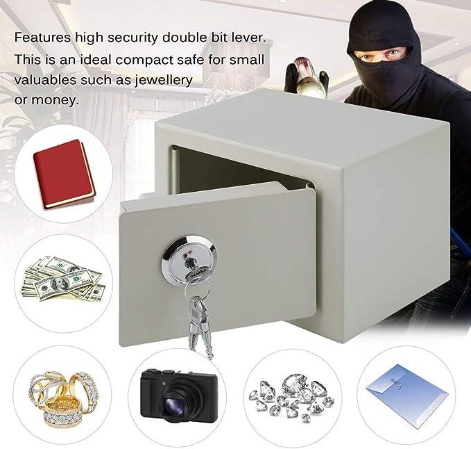 negro hotel Caja Fuerte Peque/ña Seguridad EBTOOLS con cerradura y 2 llaves para el hogar oficina 23 x 17 x 17,3 cm