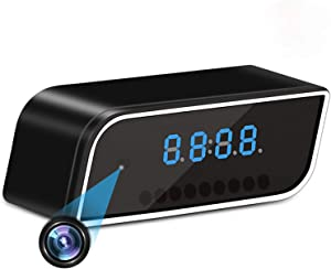 ZZOOI Clock Camera WiFi Wireless Full HD 1080P Camera Pet Monitor for Home Security with Motion Detection Alarm, with Light Night Vision,Support iOS/Android