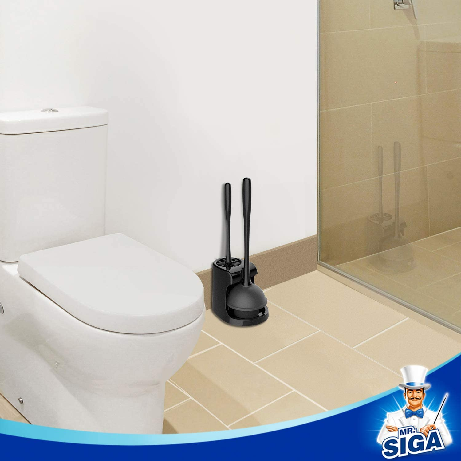 MR.SIGA Toilet Plunger and Bowl Brush Combo for Bathroom Cleaning Black