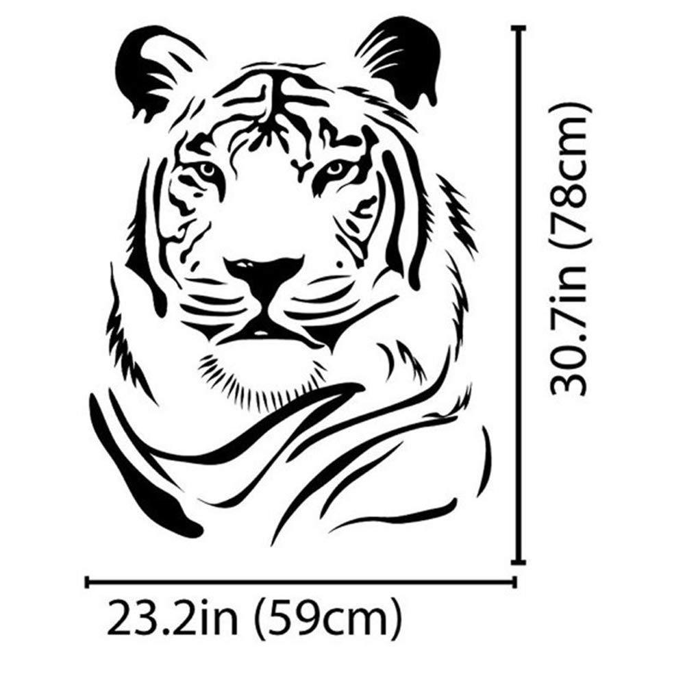 Elebeauty T/ête de tigre Wall Stickers Autocollant Murale Vinyl Art D/écoration pour Chambre Salon D/écoratif Murals Amovible Toilettes Stickers Muraux