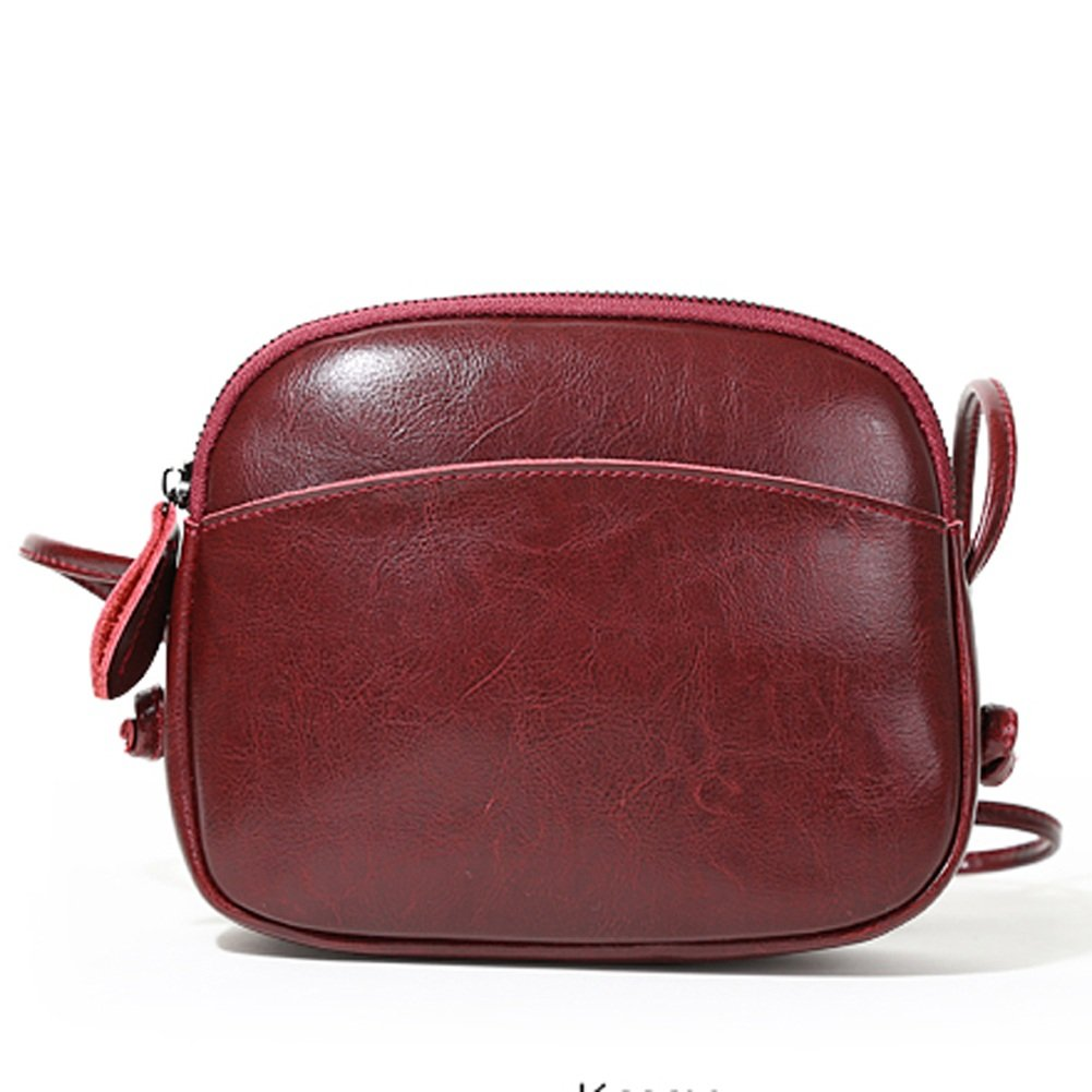 ZCM Ladys New Wave Wild Fashion Bolsos de cuero portátiles simples Mini Shell Bolsos Shoulder Messenger Bag (Color : Vino rojo)