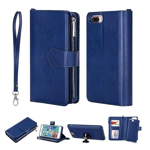 newest 3a2e5 44b72 iPhone 8 Plus Wallet Case-iPhone 7 Plus Flip Card Holder Purse Pouch with  Detachable Slim Back Cover +Zipper Coin Pocket