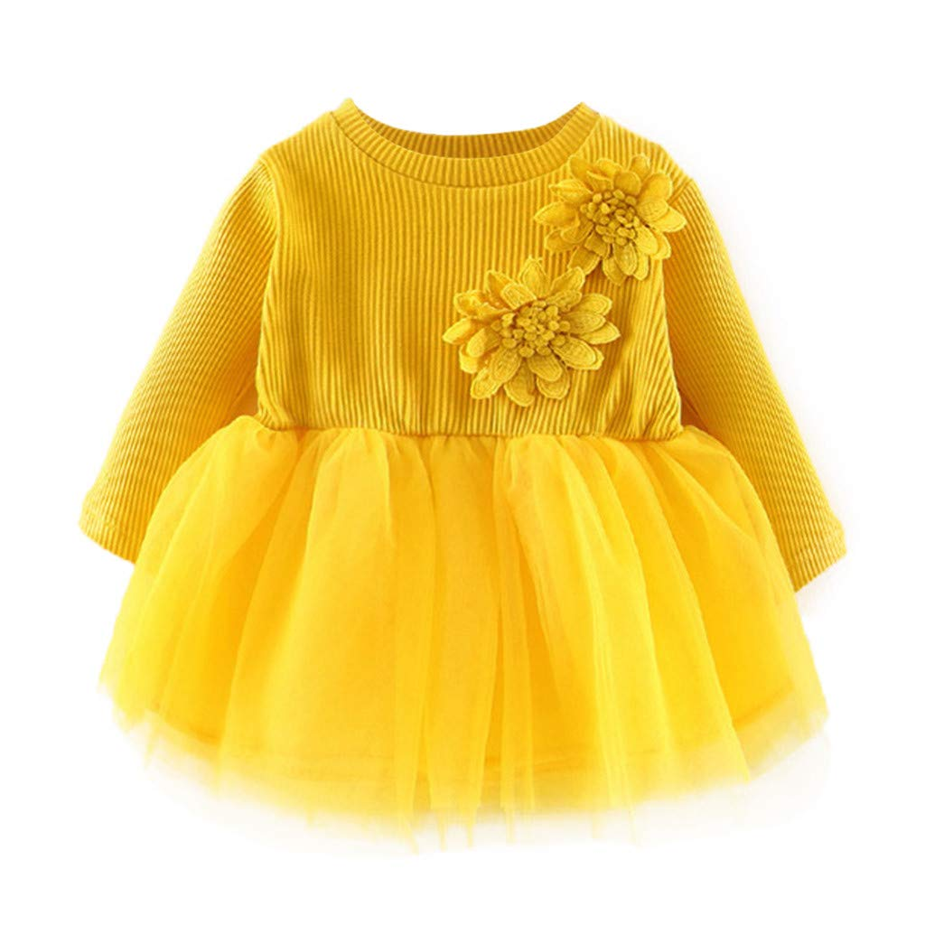 Toddler Kids Baby Girls Dress Casual Long Sleeve Floral Princess Tulle Tutu Dress Fashion Popular Party Outfits Houystory Baby Girl Clothes 0-2 Years