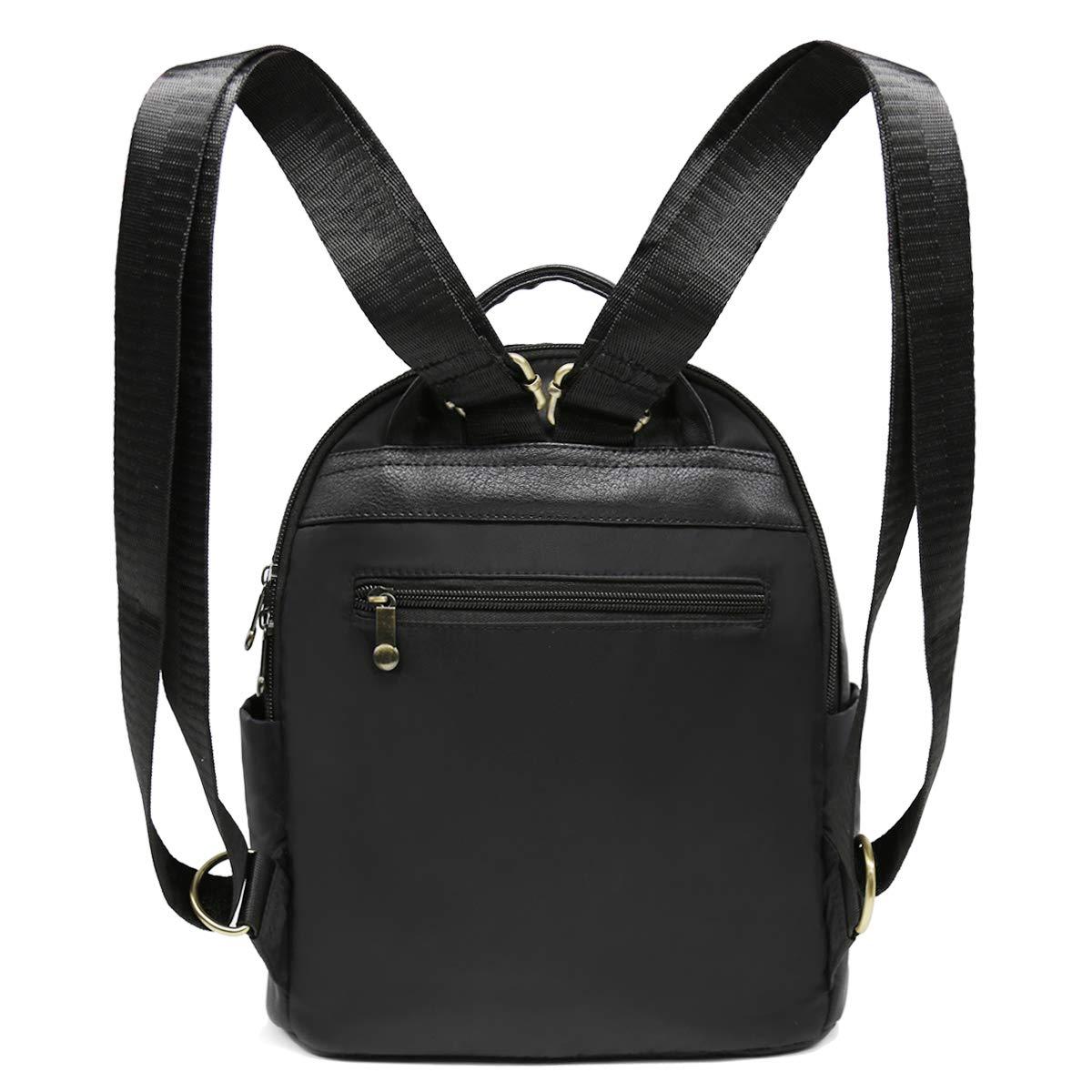 Cute Mini Backpack for Women,Embroidered Rose Backpack,Black Nylon Small Traveling Backpack Bookbag for Girls