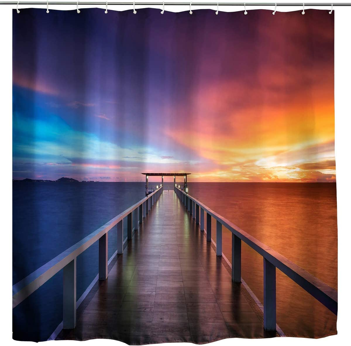 BROSHAN Ocean Sunset Shower Curtain, Nautical Seaside Wooden Bridge on Ocean Abstract Art Picture Theme, Romantic Nature Fabric Bathroom Accessories Set, 72 inch, Blue Orange Brown