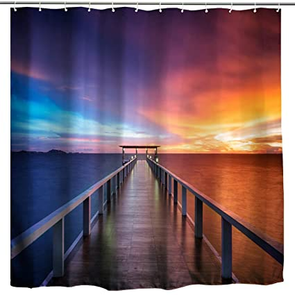 BROSHAN Blue Ocean Sunset Shower Curtain Nautical Seaside House Decor Wooden Dock Bridge