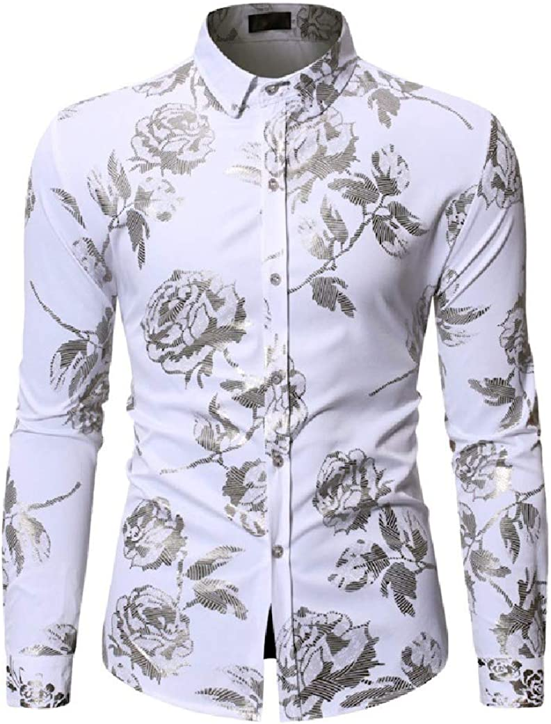Winwinus Mens Relaxed Plus-Size Classic-Fit Long Sleeve Hot Stamping Shirt