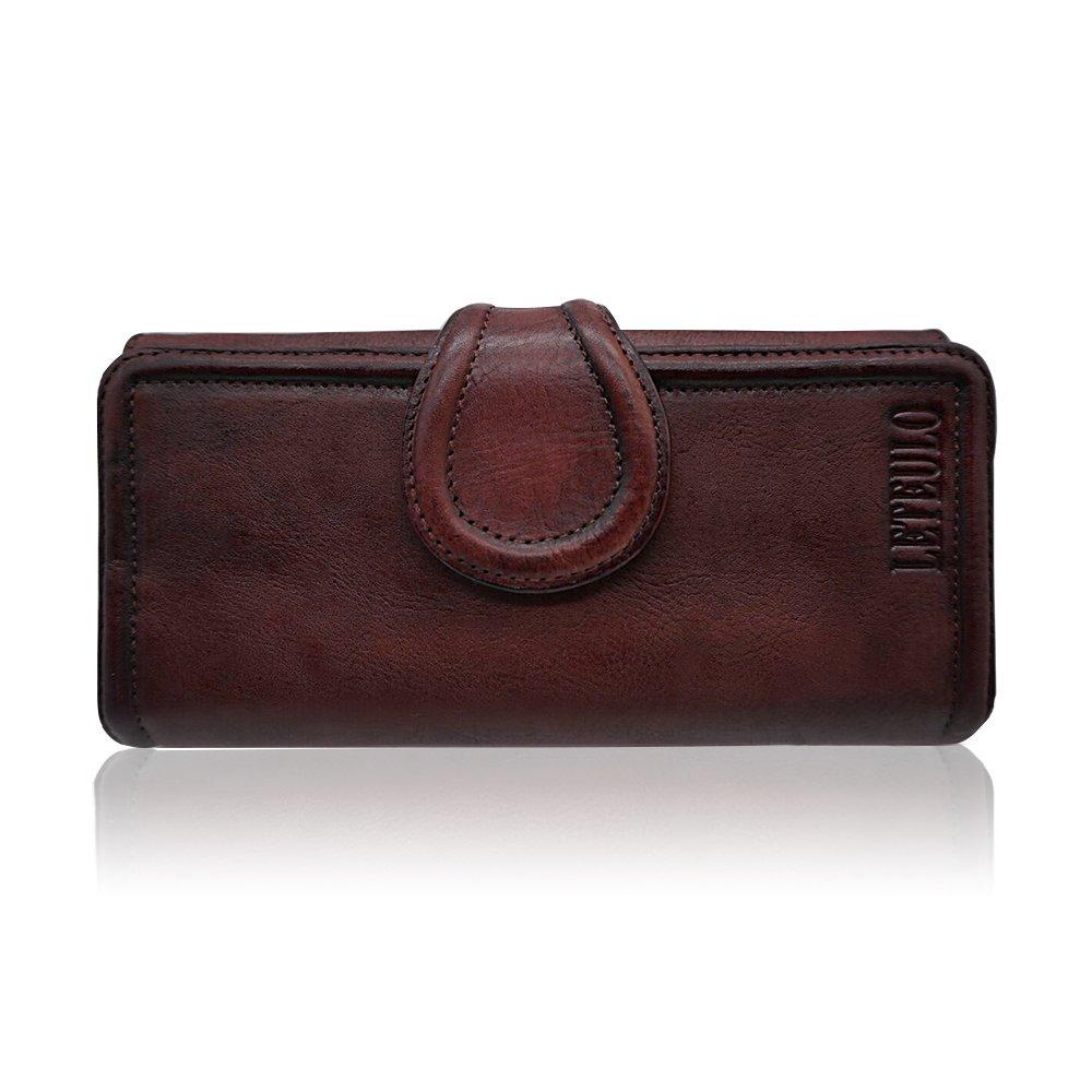 Coffee Genuine Leather Wallets for Women Handmade Dip Dye Purse Card Organizer (Coffee)