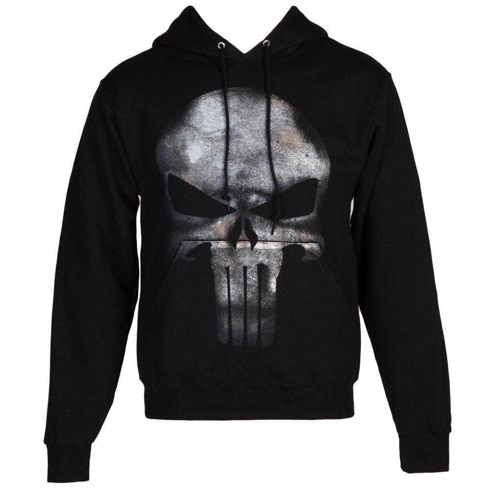 9fe9ff96ba1 Amazon.com  Marvel The Punisher Skull Logo No Sweat Adult Hoodie - Black  (XXX-Large)  Clothing