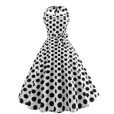 96921e70f9d6 Malloom Robes de soirée Cocktail Style Halter années 50 à Pois Vintage  1950 s Audrey Hepburn pin-