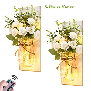 Rustic Wall Sconces Mason Jar Lights Handmade Wall Art Hanging Design with 6 Hours Timer LED Fairy Lights and White Rose, Farmhouse Kitchen Decorations Wall Decor Living Room Sconces (Set of Two)