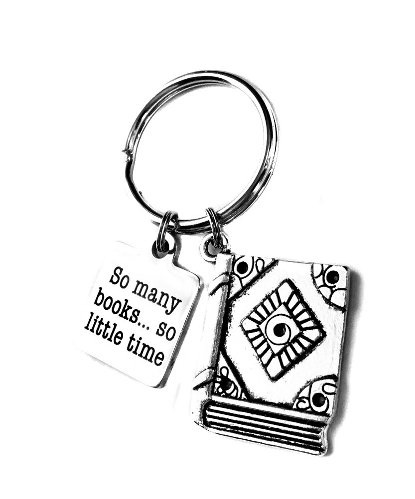 Heart Projects Stainless Steel So Many Books.So Little Time, Book Charm, Key Chain Book Bag Charm Gift
