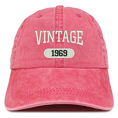 (Trendy Apparel Shop Vintage 1969 Embroidered 50th Birthday Soft Crown Washed Cotton Cap - Red)