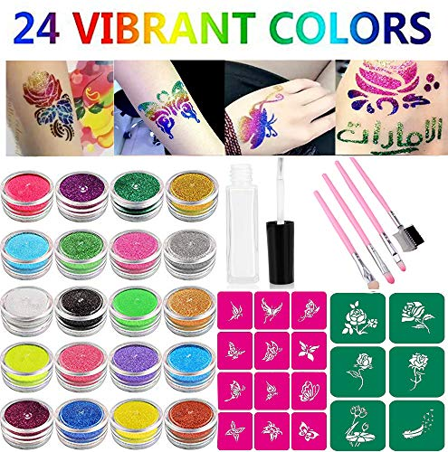 - Glitter Tattoo Kit Temp Tattoos Makeup Body Art Flash Tattoo Painting-24 Color Bottles of Glitter Powder 18 Butterfly Flower Stencils 1 Glue Applicator & 4 Pink Cosmetic Brushes for Teenagers & Adults