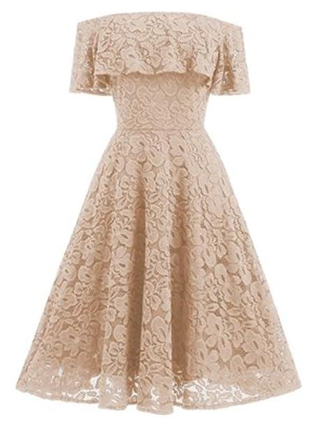 Vestido de Fiesta Mujer YOGLY Vestido de Novia Vestido Vintage Vestido de Encaje para Mujeres Elegante
