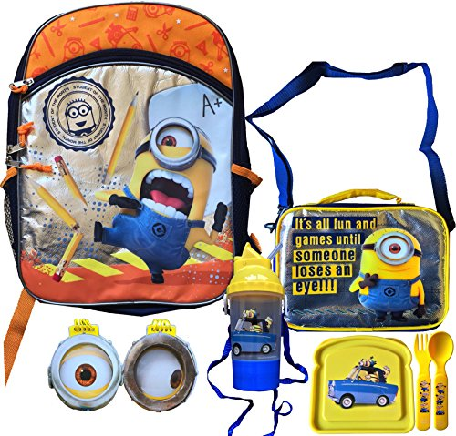 Minions Movie Exclusive Children's School Backpack A+ Minion, Includes Minion Lunch Box Adjustable Shoulder Strap Feature, Minion Rock and Sip Bottle, Minion Sandwich and Flatware Set with Bonus Minion Mini Notepads