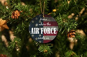 Cheyan Home is Where The Air Force Send Us Ornament, Christmas Ornament, Personalized Wood Christmas Ornament, Air Force Gift Idea