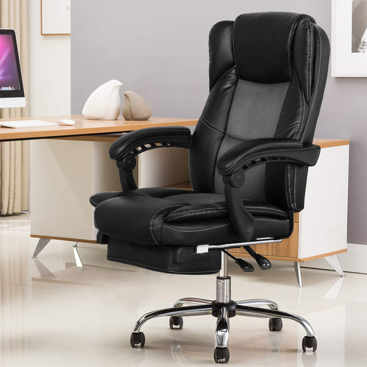 B2C2B Ergonomic Reclining Office Chair High Back Napping Desk Chair Computer Chair Leather Chair with Footrest Large Seat and Lumbar Support 300lbs Black