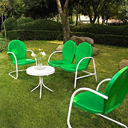 Crosley Furniture Griffith 4-Piece Metal Outdoor Conversation Set with Table, Loveseat, and 2 Chairs - Grasshopper Green (Metal Outdoor Patio Furniture Sets)
