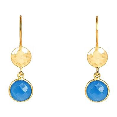 Latelita London Circle & Hammer Earring Gold Dark Blue Chalcedony 4J1zTDQ
