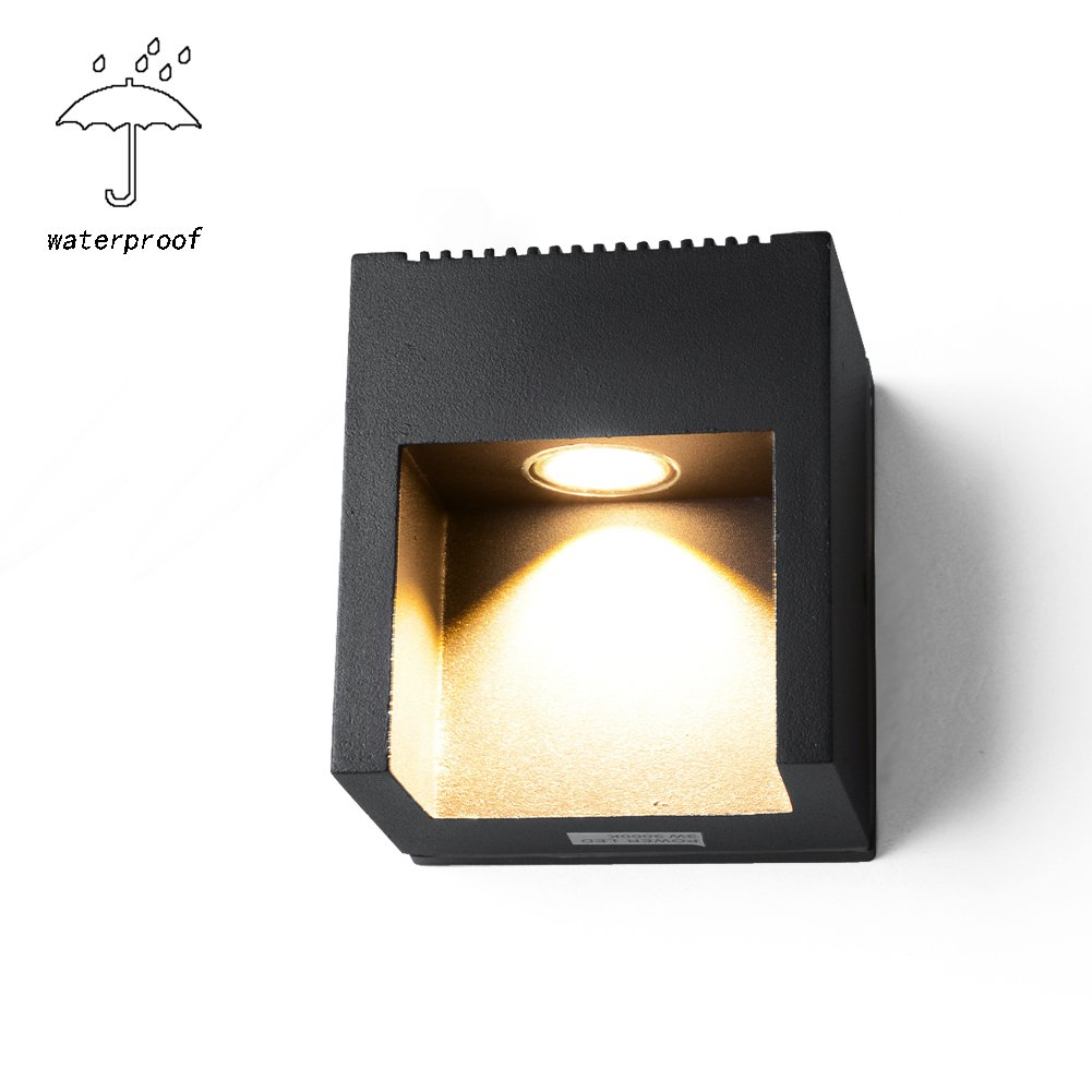 Outdoor Exterior Lights Sconces Lighting,INHDBOX Waterproof Black up/Downlight Lamp for Wall, Driveway, Patio, Yard, Garden (3W-Warm Light) by INHDBOX