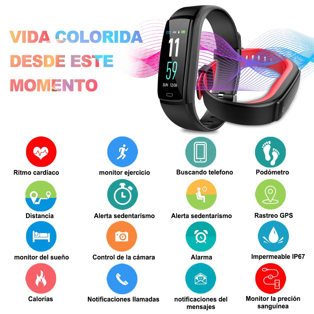 MINLUK Pulsera de Actividad Inteligente, Pulsera Bluetooth Impermeable IP67 con Pantalla Color,para Android y iOS