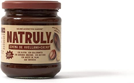 NATRULY Crema de Avellanas y Cacao Sin Azúcar y Sin Edulcorantes, Endulzada con Fibra de Achicoria, Sabor Chocolate con Leche (300g)