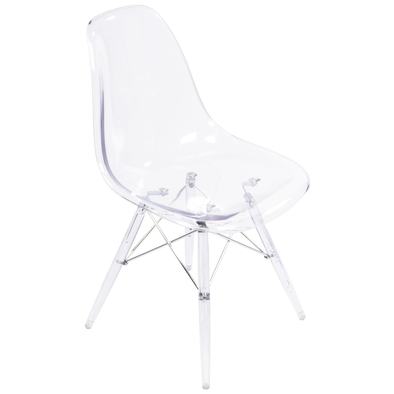 Nicer Furniture® Set of 1 Transparent Clear - Eames Style Side Chair with Transparent Clear Legs Eiffel Dining Room Chair - Lounge Chair without Arms Chairs Seats Metal Dowel Leg - Eiffel Legged Base Molded Transparent Clear Seat Shell Top-Paris Tower Side
