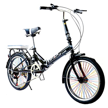 Paseo Bicicleta Plegable Unisex para Adultos Bicicleta de 6 velocidades y 20 Pulgadas con Ruedas de