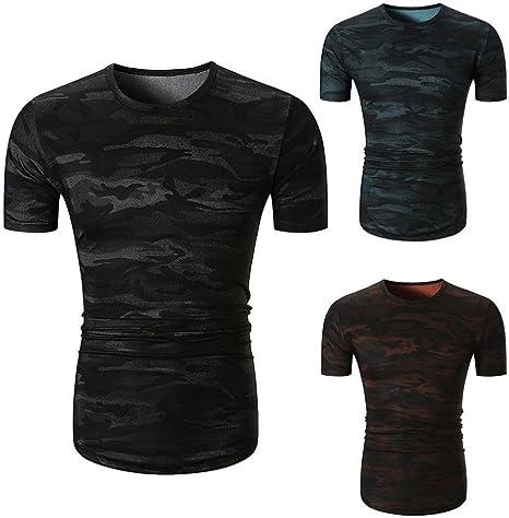 ❤VENMO Camisetas hombre,Camisetas hombre originales,camisas hombre,Polos hombre,hombres Casual Camisetas de camuflaje,verano Camiseta de manga corta Blusa top (Azul, S): Amazon.es: Deportes y aire libre