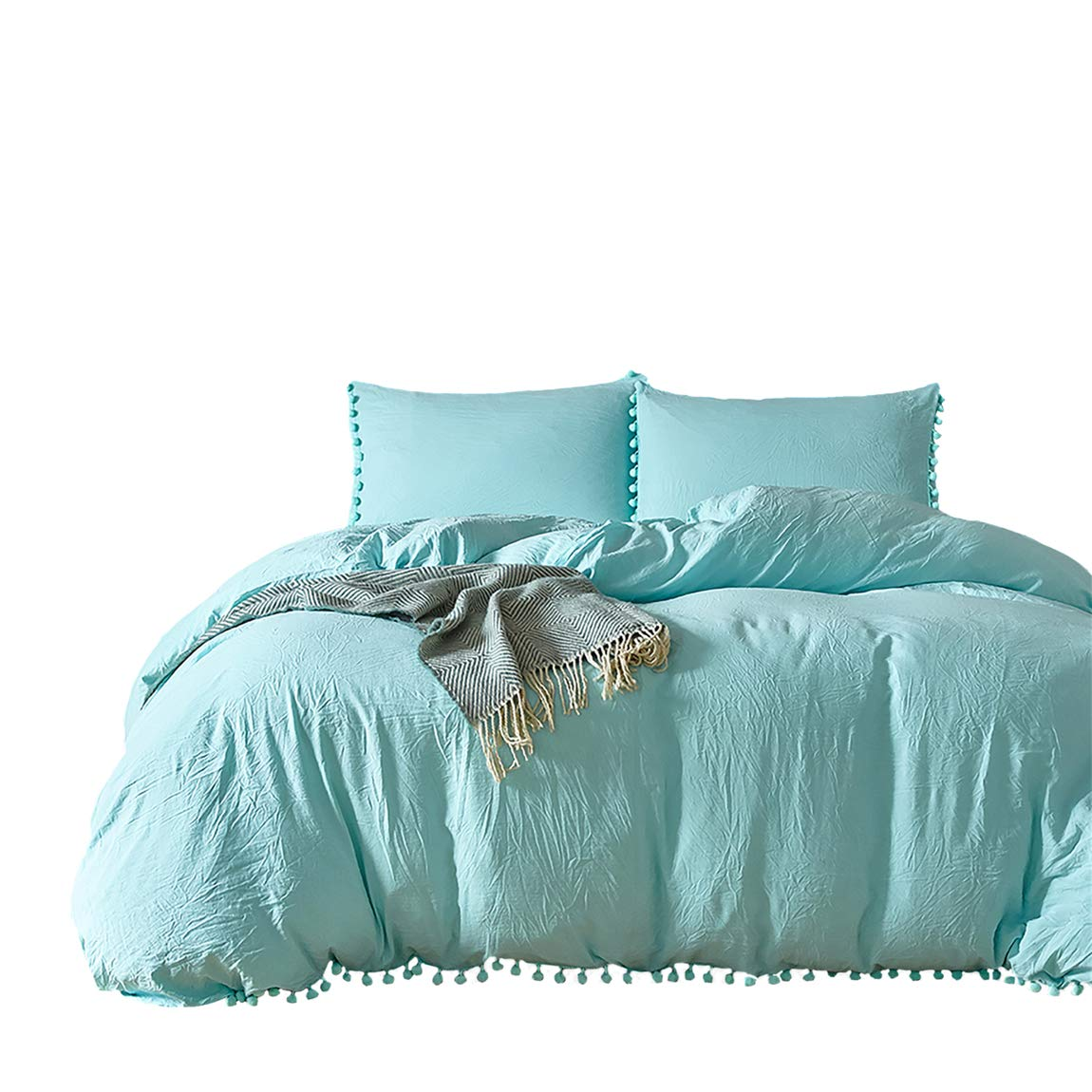 iAsteria Super Soft Duvet Cover and Pillow Shams Set, Microfiber, Pom Pom Fringe, Comforter Cover with Zipper and Ties, Easy Care, Simple Style Bedding Set, 3 Piece - Queen, Aqua