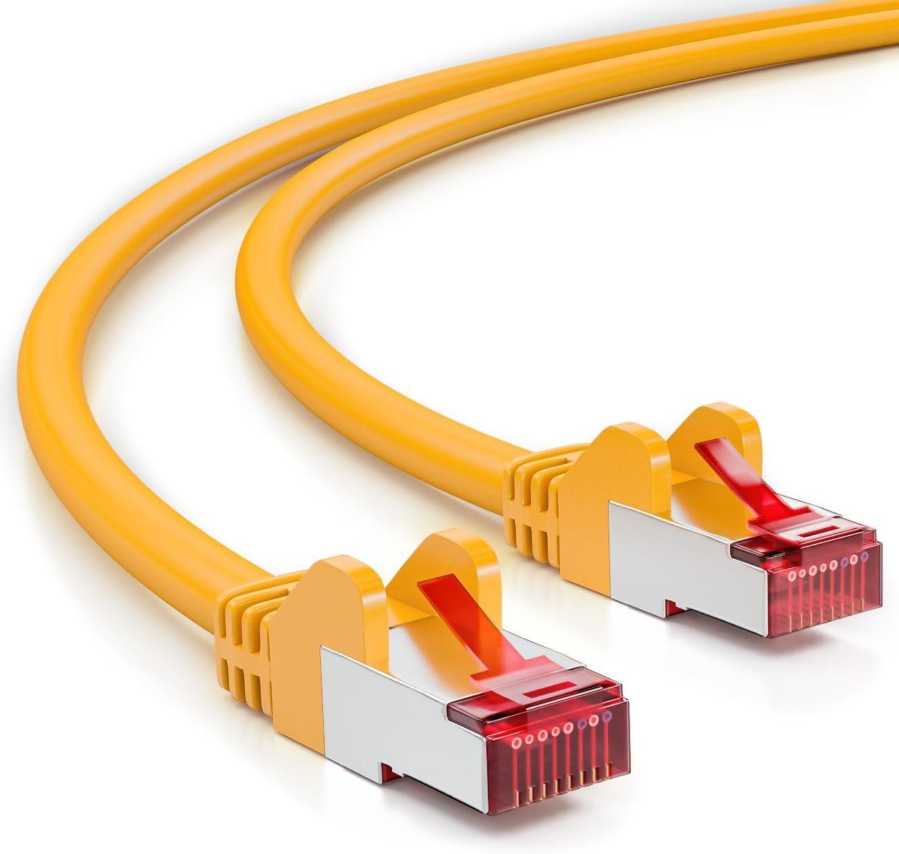deleyCON 25m CAT6 Cable de Red - S/FTP PIMF Blindaje Cat-6 RJ45 Ethernet Cable de Conexión - LAN DSL Módem Los Paneles de Parcheo - Amarillo