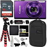 Canon PowerShot ELPH 360 HS (Purple) with 12x Optical Zoom and Built-In Wi-Fi, Ritz Gear Flexi Tripod, Lowepro Case, Sandisk 16GB and Accessory Bundle