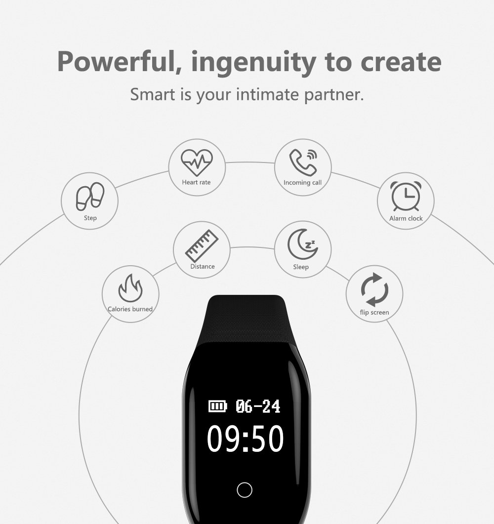 DEXUNWEI Fitness Tracker with Heart Rate 608HR 0.66 OLED 4.0 Bluetooth IP67 Waterproof and Dustproof Sports Wristband Sleep Monitor Flip Screen for Android and IOS (Black) by DEXUNWEI (Image #3)