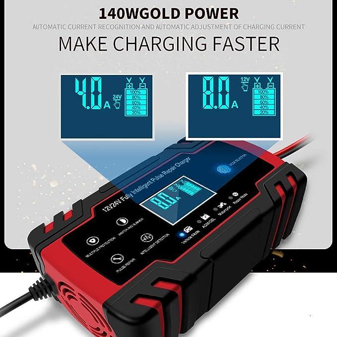 24V 6A Chargeur de Batterie LCD de R/éParation DImpulsion pour Voiture Moto Batterie au Plomb EU Plug Rouge Nrpfell Chargeur de Batterie de Voiture 12