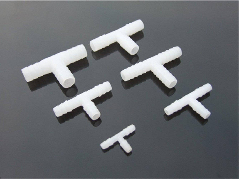 Uniqstore 10 Unids En Forma de T de Plá stico Conector 1.6-25mm Manguera de Tubo de Acoplamiento de Tubo Acoplador Joiner Splitter de Agua