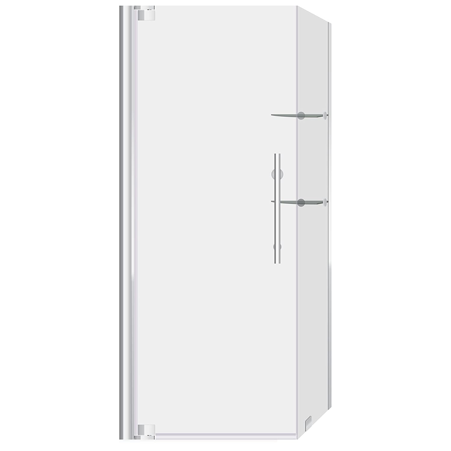 """cheap LessCare 29 3/8-30""""W x 72""""H x 29-30""""D Glass and Stainless Steel Chrome Semi-Frameless Swing-out Shower Enclosure"""