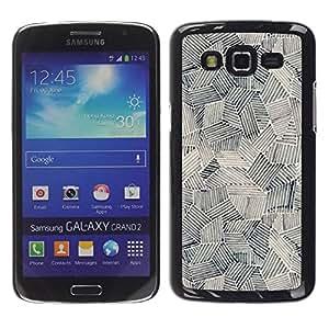 Strong rígido protector delgado Shell Prima Delgada Casa Carcasa Funda Case Bandera Cover Armor para Samsung Galaxy Grand 2 SM-G7102 SM-G7105/Art Painting Shapes Black White