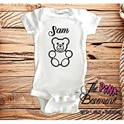 5a587adc0bc75 HANDMADE Name Personalized Baby Teddy Bear Babies Clothes Clothing kids  funny Unisex Boys Girls Newborn Infant