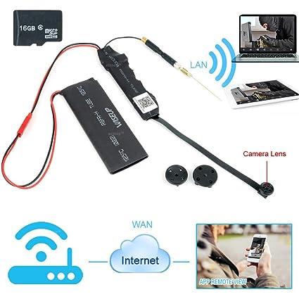 WISEUP Cámara Espía 8GB 1280x720P HD Mini Red Wifi se Soporta la Grabación en Bucle Módulo